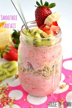 Smoothie Parfait with layers of fresh fruit and granola!
