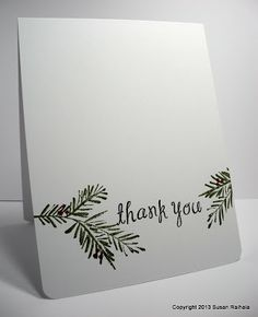 use stamp and punched branches; add red, brown or white sequins and Christmasy phrase in the middle