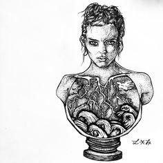 #sketch #wip #dotwork #tattoo #androgynus #man #portrait #illustration #graphic #blackink #dark #waves #sea #hair