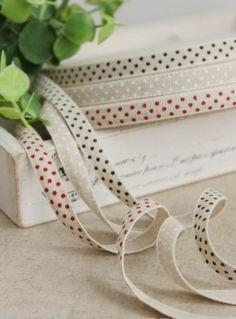 3m natural Linen Blend POLKA DOT ribbon country craft zakka Gift Wrapping trim, £6.00 | eBay