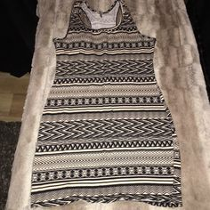 B_envied Black & cream print racerback tank dress Good condition, worn once, fitted/tight dress B_envied Dresses