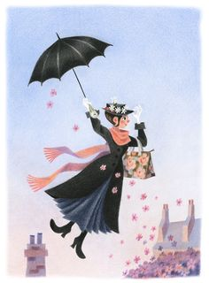 Mary Poppins - Genevieve Godbout--I am older and i decided to start rereading books from when I was young. Mary Poppins is the first,Must admit the book and the movie portrays two different characters of Mary. Disney Pixar, Walt Disney, Disney And Dreamworks, Disney Love, Disney Magic, Disney Art, Miss Marple, Disney Kunst, Julie Andrews