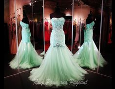 This lace mermaid Gown in Mint is absolutely out of this world!