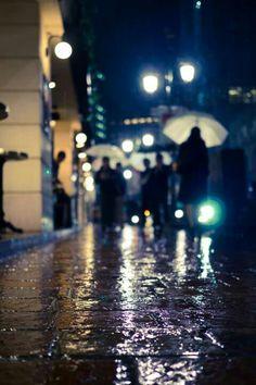 .A rain soaked street