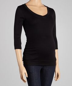 Take a look at this Black V-Neck Maternity Top by Mom & Co. on #zulily today!
