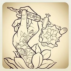 tattoo sketch : hand with tattoo machine and rose Tattoos: hands | tattoos picture tattoo sketches