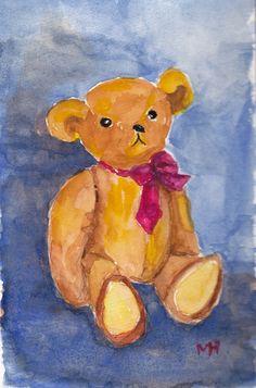 Teddy Bear Watercolor Portrait Original by MarthaHorman on Etsy, $18.00