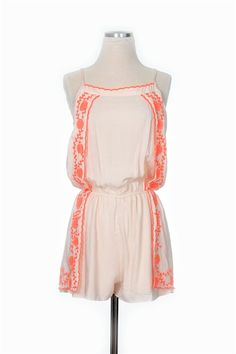Rompers are all the rage this season, our Orange Zest Romper won't disappoint! Adjustable straps with neon embroidery, lined shorts. Dress this romper up with neutral wedges and bright jewelry! Runway Fashion, Fashion Models, Womens Fashion, Fashion Blogs, Casual Outfits, Cute Outfits, Boho Hat, Beautiful Outfits, Beautiful Clothes