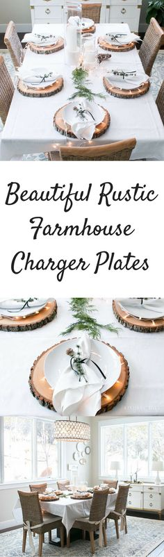 I love these beautiful tree trunk charger plates for a rustic farmhouse dining room table. #ad #rusticdecor #rusticwedding #rusticfarmhouse #homedecor #homedecorideas #homedecoration #charger
