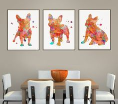 French Bulldog Watercolor Art Print, French Bulldog Painting, Set of 3 Prints, French Bulldog Wall A French Bulldog Gifts, Cute French Bulldog, French Bulldog Drawing, Schnauzer Art, Dog Poster, Dog Paintings, Dog Lover Gifts, Watercolor Print, Wall Decor