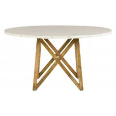 "•54"" diameter x 29.75""H	  •mango wood base  •white marble top- Jayson Home"
