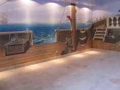 Wandmalerei Piratenschiff