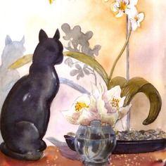 L'orchidée blanche au chat aquarelle cyane