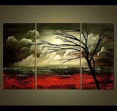 Oliva verde paisaje abstracto Original acrílico pintura
