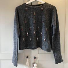 8ce562be6e6 Zara trafaluc jewelled   embellished sweater   speckled grey jumper. Size  medium - will fit. Depop