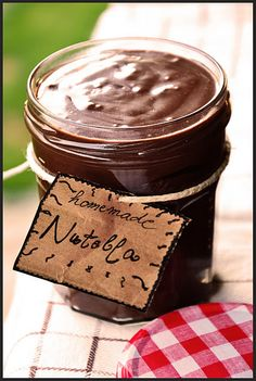 Homemade Nutella - Pretty ribbon could turn this into a great Christmas present.