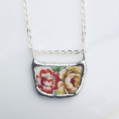 Vintage Colorful  Fall Flower's Ceramic Necklace made from vintage broken china