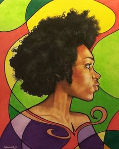 """Natural"" - Manasseh James Johnson {contemporary figurative art female #naturalhair head profile african-american black woman face portrait painting #loveart} ManassehArt.com"