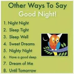 "Other ways to say ""Good Night"""