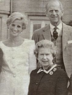 Diana with The Queen and Prince Philip