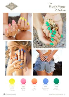 The Happy Hippie Collection Cnd Shellac Colors, Gel Nail Colors, Gel Color, Bio Gel Nails, Gel Manicure, Hippie Nails, Bio Sculpture Gel Nails, Beauty Clinic, Crystal Nails