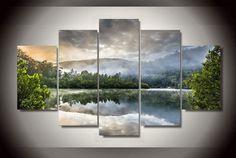 5 Pieces Multi Panel Modern Home Decor Framed Morning Fog Lake Scenery Wall Canvas Art