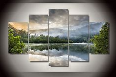 5 Pieces Multi Panel Modern Home Decor Framed Morning Fog Lake Scenery Wall Canvas Art