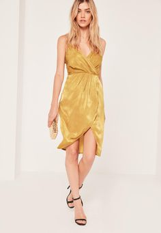 Missguided - Yellow Petite Silky Strappy Wrap Over Midi Dress