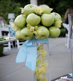 green apple topiary ... Idea. Edible center pieces. Awesome.