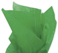 Solid Tissue Paper Kelly Green 20 x 30 • 480 sheets of solid color tissue paper per ream • Machine glaze finish • Contains on average 60% post-industrial and 10% post-consumer recycled content • Recyclable • Made in the USA