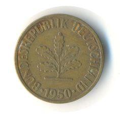 Germany 10 Pfennig 1950 J Vintage Coin by JMCVintagecards on Etsy