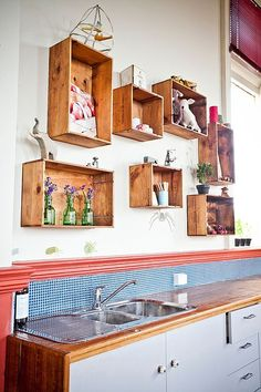 Wall-Mounted Wine Crate Shelves – A Trendy Variation On Open Shelves Wine Box Shelves, Apple Crate Shelves, Diy Wood Shelves, Kitchen Shelves, Open Shelves, Wall Shelves, Apple Crates, Drawer Shelves, Wooden Crates On Wall