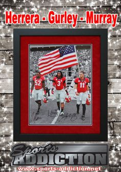 US Flag Spotlight Autoraphed Custom Framed 16x20 Photo. Signed by former Georgia Bulldogs Amarlo Herrera, Todd Gurley and Aaron Murray!  A must have for any Georgia Fan.  Belongs in any Man Cave, Fan Room or DAWGS House!  #ToddGurley #AaronMurray #GiftsforHim #GeorgiaBulldogs #USFLAG