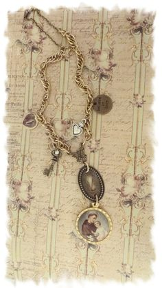 Assemblage Necklace St. Anthony Necklace by BerthaLouiseDesigns
