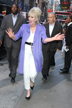 """Joanna Lumley makes an appearance on """"Good Morning America"""" to talk about her new movie """"Absolutely Fabulous: The Movie"""" in New York City. [Photo Credit: Roger Wong/INFphoto.com] Good M"""