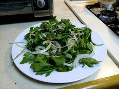 Parsley Salad via Nigella  I do a version of this:  Parsley 1/2 c capers juice of 2 lemons Sliced red onion soaked in lemon for 3 hours or more olive oil  Serve with grilled steak on a summer night.  #fiveorfewer @Old School