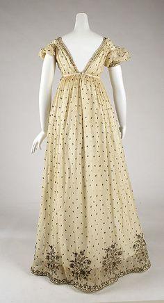 Evening dress Date: ca. 1810 Culture: French Medium: cotton, metallic thread Accession Number: 1976.137.1