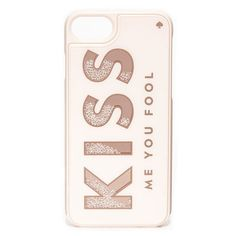 Kate Spade New York Kiss Me You Fool iPhone 7 Case (€26) ❤ liked on Polyvore featuring accessories, tech accessories, phone cases, cases, tech, phone, rose gold, iphone mirror case, rose gold iphone case and metallic iphone case