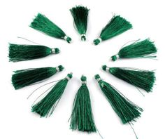 "10 Pcs Dark Green Color Silk Tassel Beautiful Necklace Making Link 2"" Long #luctsa"