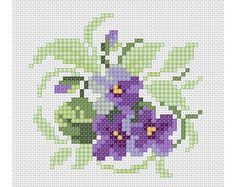 PDF Violets cross stitch embroidery Pattern// Violet flowers cross stitch Pattern