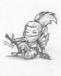 Yasuo chibi by Kaila-Rips Disney Drawings, Art Drawings, Desenhos League Of Legends, League Of Legends Logo, Lol Champ, Legend Drawing, Bullet Journal Font, Spray Paint Art, Art Reference Poses