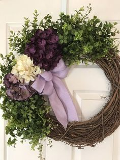 HYDRANGEA WREATH,Burlap Wreath, Spring Wreath,Summer Wreath,Grapevine Wreath, Purple Wreath,Front Door Wreath,Boxwood Wreath,Wedding Wreath #Promotion… #PaidAd #ad #affiliatelink