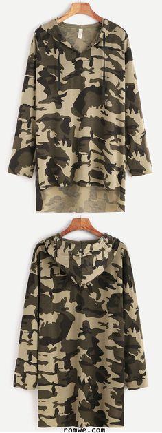 Camo Print Drop Shoulder High Low Drawstring Hooded T-shirt