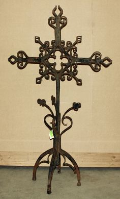 Large Antique Wrought Iron Cross | Religious Antiques | Inessa Stewart's Antiques