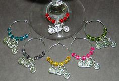 6 Crystal Motorcycle WINE GLASS CHARMS NEW