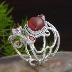 DESIGNER 925 STERLING SILVER RED ONYX FANCY RING 4.84g DJR10827 SZ-6 #Handmade #Ring