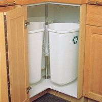 Garbage and recycling center. Great idea for corner storage and alternative to lazy susan - oh yes!