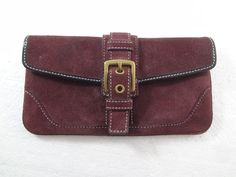 Coach Purple Plum Suede Clutch Handbag Missing Strap  #Coach #Clutch