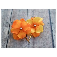 Orange Flower Hair Clips, Hydrangea Hair Pins (2 pcs Bridesmaids... ($16) ❤ liked on Polyvore featuring accessories, hair accessories, flower hair accessories, flower hair clip, rhinestone hair pins, floral hair accessories and floral hair clips