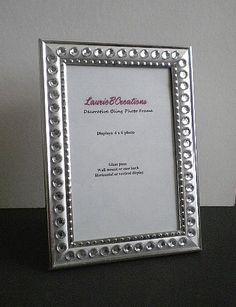 silver bling picture frame silver w clear rhinestones in 4 x 6 or 5 x 7
